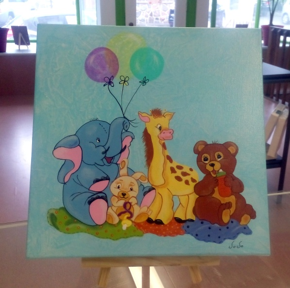Toile animaux 10x10 - Créations Jocelyne Forbes - 44.95$ Taxes incluses